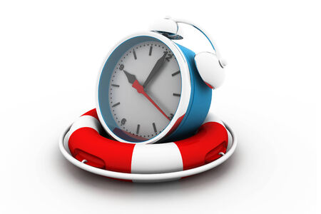 Save the time concept. Alarm clock with Life Buoy  photo