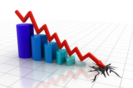 bad economy: Graph showing business decline   Stock Photo