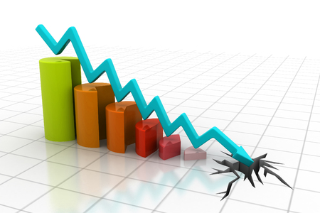 and decline: Graph showing business decline   Stock Photo