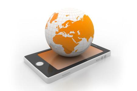Smart phone and world globe  photo