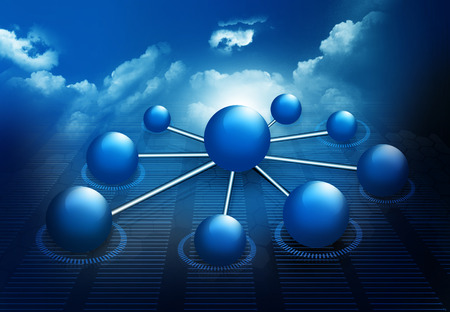 Molecule And business  network on sky background Stock Photo - 28858667