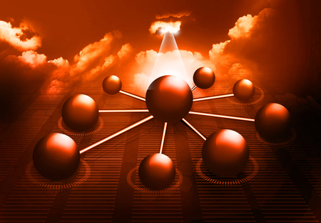 Molecule And business  network on sky background  photo