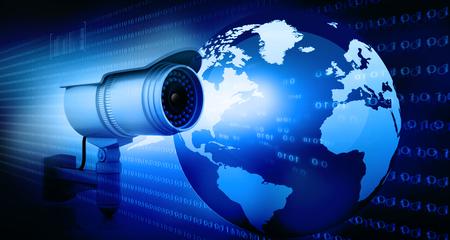 při pohledu na fotoaparát: Surveillance fotoaparát s digitálním světem Reklamní fotografie