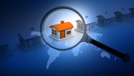 realestate: Magnifying glass searching for unique house. Real estate market.  Stock Photo