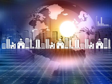Globe concept for city. Urbanisation concept  Stock Photo