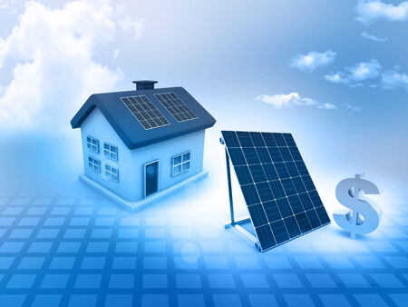 House with solar panels and dollar sign Stock Photo - 28867135