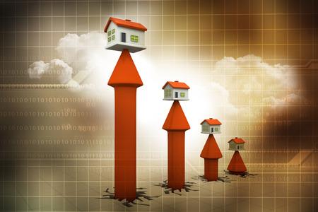 3 d の家と矢印のグラフ。不動産の成長
