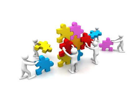 Zakelijke teamwerk gebouw puzzels samen Stockfoto