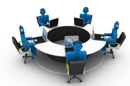 3d people working on office , roundtable  photo