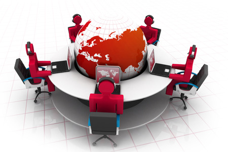 corporate training: 3d people working on office , roundtable and globe