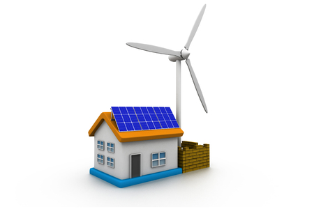 solar wind: 3d home with solar energy panels and wind turbine Stock Photo