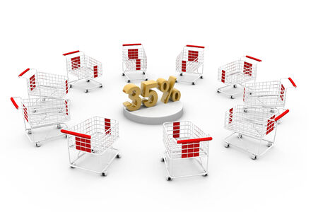 trolly: Shopping cart with percentage  Stock Photo