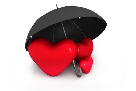 heart under: Three  red heart under the umbrella