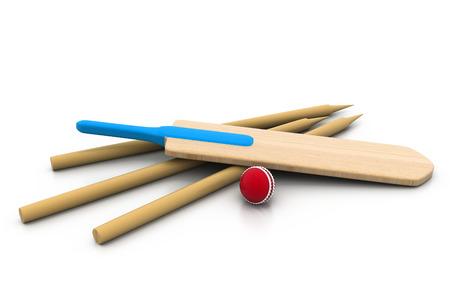 cricket stump: set equipment for cricket  Stock Photo