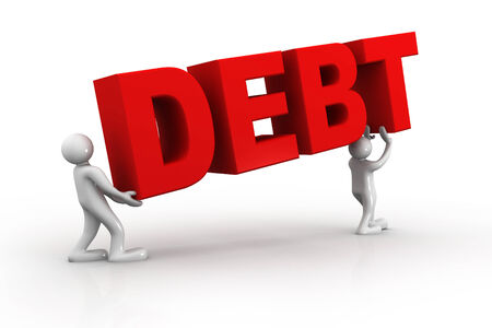 heavy load: Debt concept, 3d business people  carrying word debt