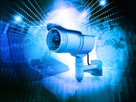cctv: C�mara de vigilancia con el mundo digital Foto de archivo