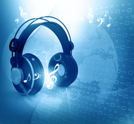 Digital world  with headphones, world music concept photo