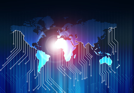electrical part: World map and  high tech circuit board , abstract technology background