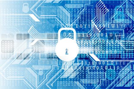 Cyber security concept, printplaat met Gesloten hangslot Stockfoto