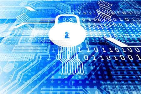 サイバー セキュリティ概念、閉じて南京錠で回路基板 写真素材