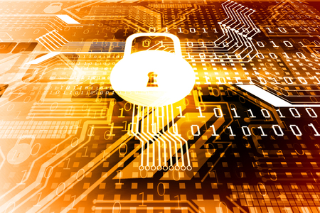 cyber security: Cyber security concept, circuit board with Closed Padlock