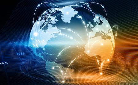 Fondo futurista de la red global de negocios, internet, concepto de globalización