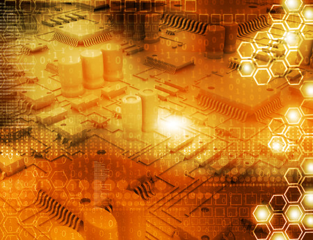 electrical components on tech background