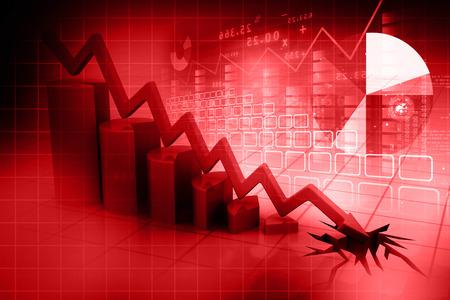 stock market crash: Graph showing business decline   Stock Photo