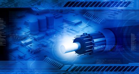 Technologie achtergrond, printplaat met glasvezel kabel