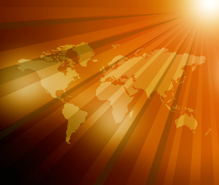 World Map  sunburst background   photo