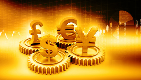 european union currency: 3d gear with global currency
