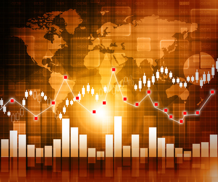 stock quotes: Stock Market Graph and Bar Chart   Stock Photo