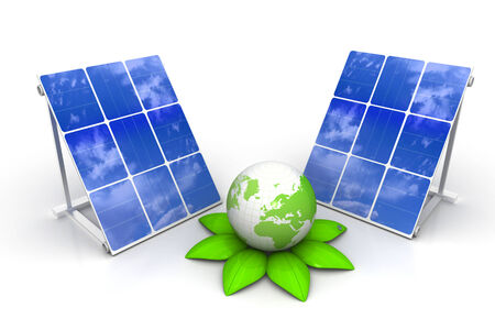solar panels with green world