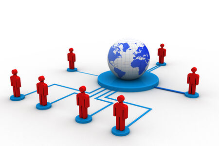 uniting: Social networking , globe and peoples connect with network  Stock Photo