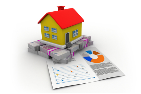 House with euro and graph chart over white background Stock Photo - 30286945
