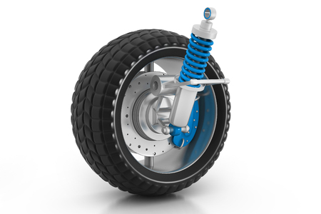 3d Wheel, shock absorber and brake pads photo
