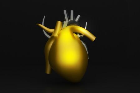 heart muscle cells: 3d render of golden human heart
