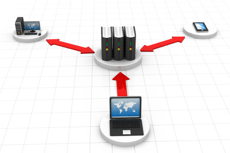 web hosting: Network and internet communication concept  Stock Photo