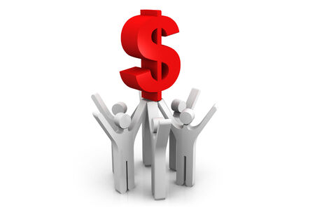 3d people  holding a dollar symbol