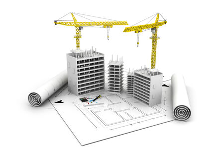 brick and mortar: 3d building  block in construction and  crane on top of blueprints  Stock Photo