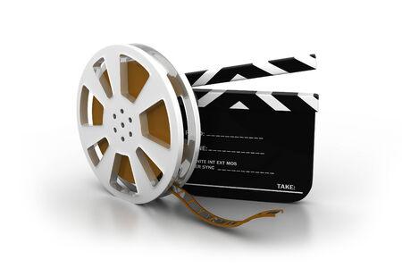 film slate: 3d illustration of film slate, movie reel   Stock Photo