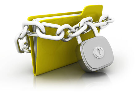 Folder locked by chains isolated over white.