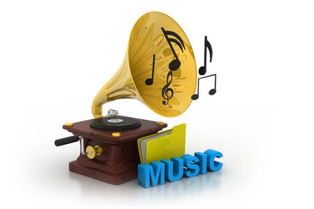 Gramophone and music folder    photo