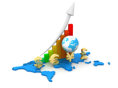 wealth management: Business graph  with Global Currencies  Stock Photo