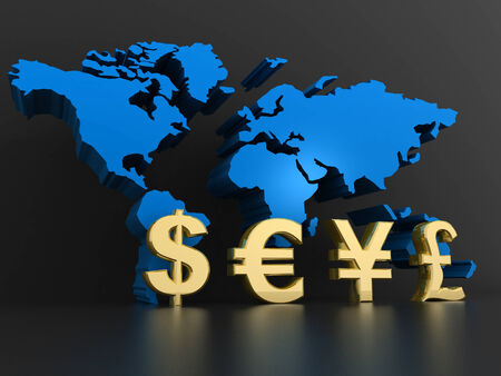 financial world: Business graph  with Global Currencies  Stock Photo