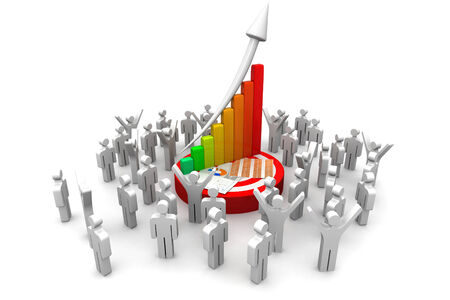 crowed: 3d business people with  financial graph   Stock Photo