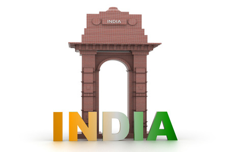 india 3d: 3d design of India gate with word India