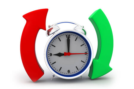 two arrows: Alarm clock with arrow circle  Stock Photo