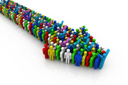 single man: leadership concept, 3d illustration   Stock Photo