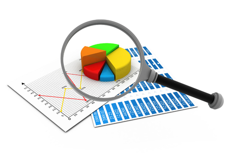 histogram: Analysing business report, magnify glass and graph charts